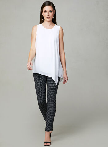 Layered Chiffon Sleeveless Blouse, Off White, hi-res