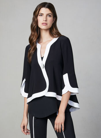 Joseph Ribkoff - Contrast Trim Jacket, Black,  3/4 sleeves, ¾ sleeves, large button, contrast colour, cropped jacket, fall 2019, winter 2019