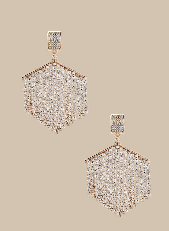 Crystal Cascade Earrings, Silver
