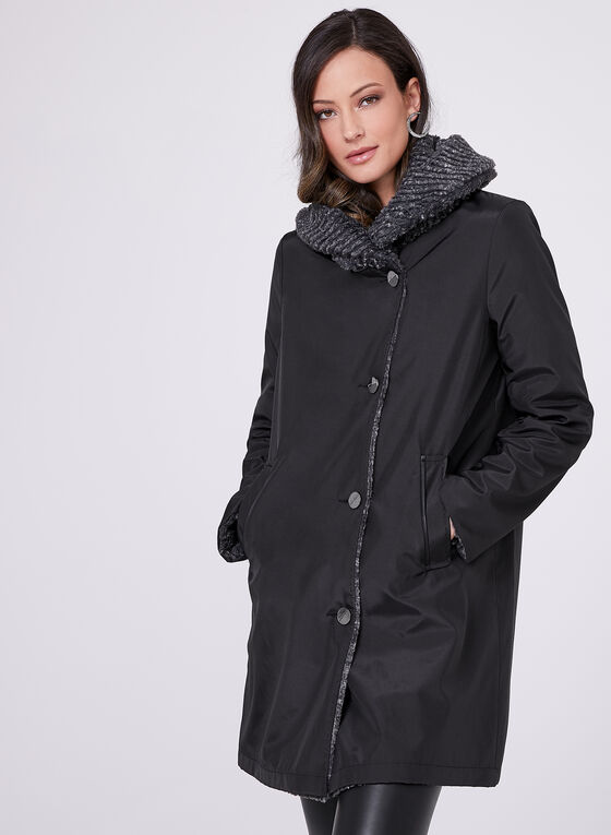 Novelti - Reversible Faux Fur Coat, Black, hi-res