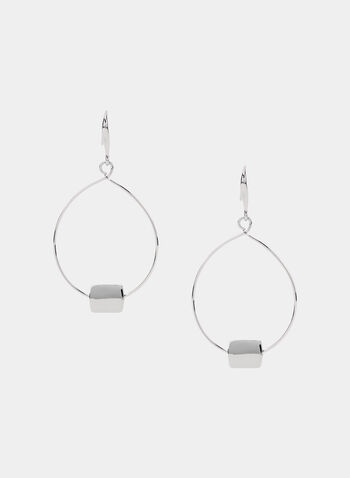 Oval Dangle Earrings, Silver, hi-res