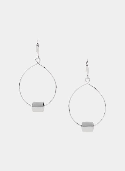 Boucles d'oreilles à pendants ovales, Argent, hi-res