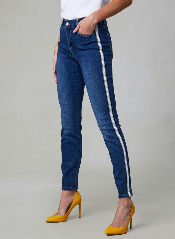 Contrast Trim Slim Leg Jeans, Blue, hi-res