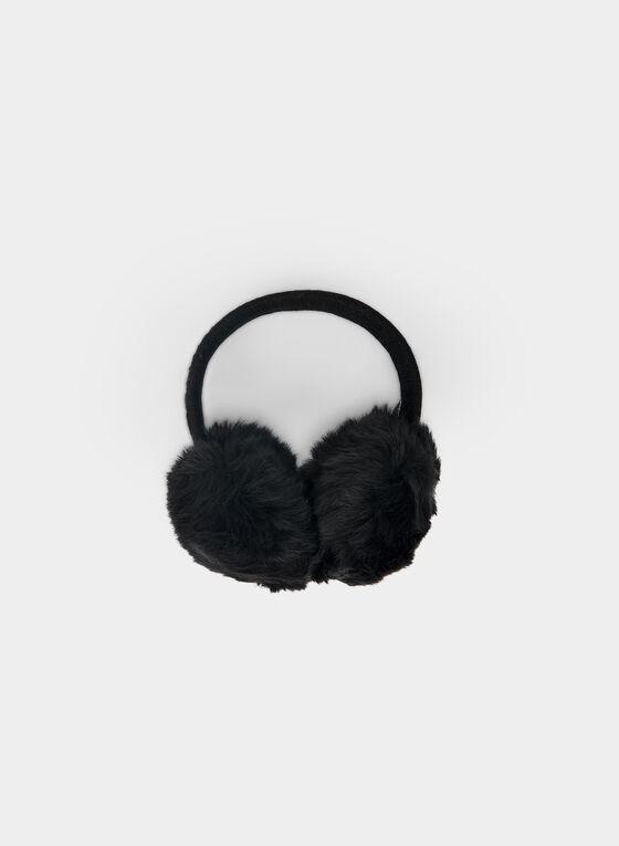 Karl Lagerfeld Paris - Faux Fur Earmuffs, Black, hi-res