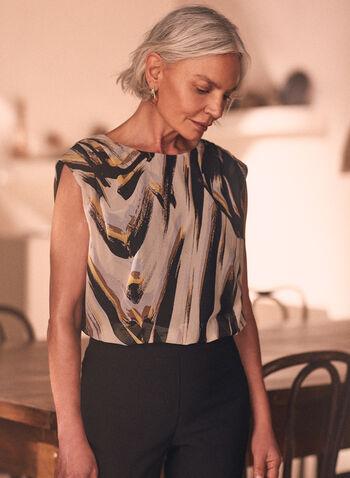 Brushstroke Print Cap Sleeve Top, Brown,  top, blouse, cap sleeves, boat neck, brushstroke print, mesh, spring summer 2021