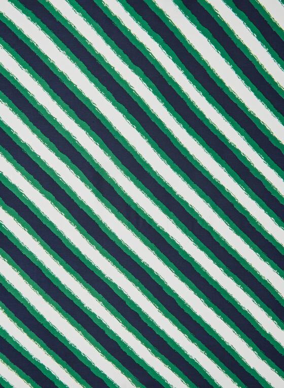 Foulard carré à rayures obliques, Bleu