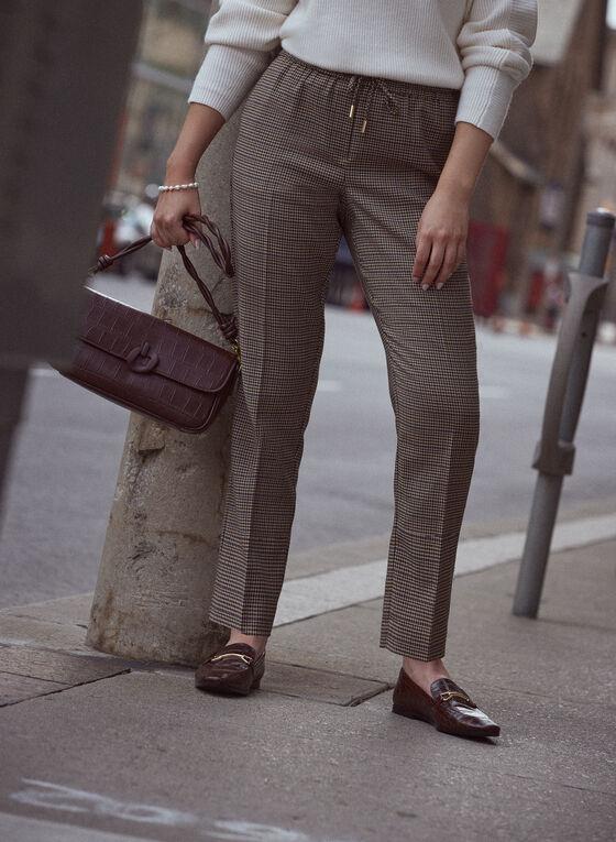 Houndstooth Drawstring Pants, Brown