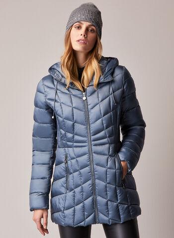 Bernardo - Packable EcoPlume™ Coat, Blue,  fall winter 2020, coat, winter coat, packable, quilted, hood, EcoPlume, fitted, pockets, zip, zipper, Bernardo, down, vegan, holiday