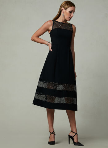 Aidan Mattox - Fix & Flare Dress, Black, hi-res