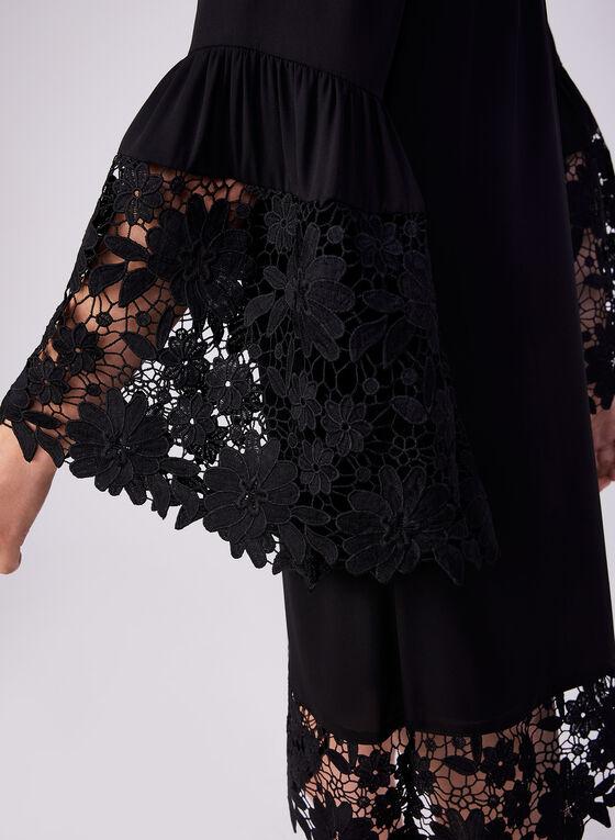 Joseph Ribkoff - Robe à manches cloche et détails crochet, Noir, hi-res