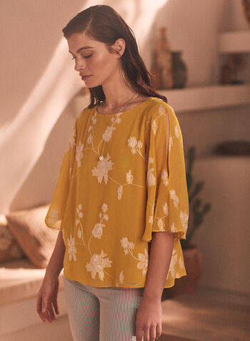 Floral Embroidered Chiffon Blouse, Yellow,  blouse, chiffon, boat neck, slit sleeves, layered, floral, embroidery, spring summer 2020