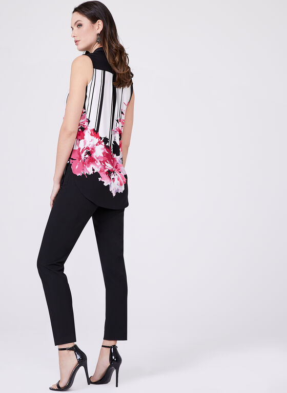 Sleeveless Stripe Floral Top, Multi, hi-res