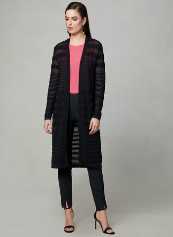 Ribbed Open Front Cardigan, Black, hi-res