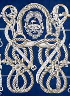 Foulard carré à motif chaînes, Bleu, hi-res