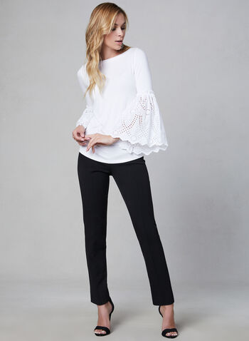 Bell Sleeve Top, White, hi-res,  top, bell sleeves, eyelets, boat neck, fall 2019