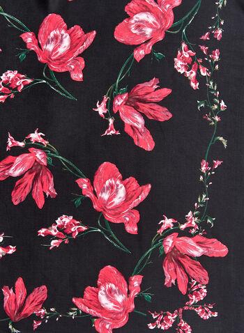 Foulard léger carré à imprimé floral, Noir, hi-res