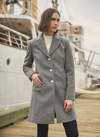 Stretch Wool Blend Coat, Grey,  fall 2021, jacket, coat, outerwear, wool blend, faux wool, stretch, fabric, comfy, warmth, long sleeves, notch collar, button closure, decorative buttons, belt, fit and flare, cut