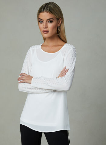 Pearl Detail Crepe Top, Off White, hi-res