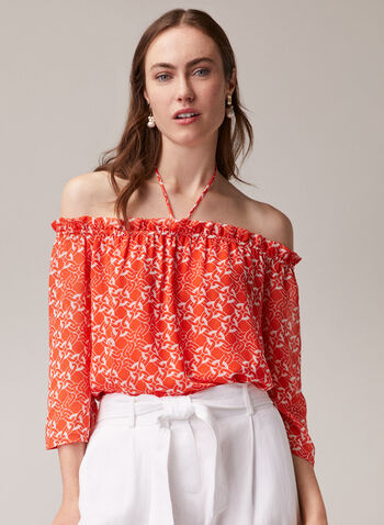 Chain Print Bardot Neckline Blouse, Yellow,  blouse, Bardot, off the shoulder, 3/4 sleeves, chain, chiffon, spring summer 2020