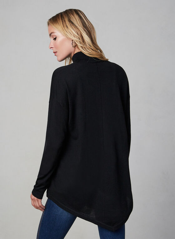 Asymmetric Turtleneck Knit Sweater, Black