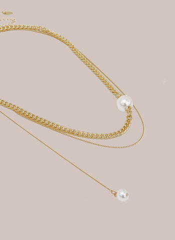 Pearl Detail Double Chain Necklace, Off White,  fall winter 2020, pearl, dangle, chain, multi-row, golden-tone