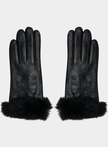 Sheep Leather Gloves, Black,  gloves, leather, sheep leather, leather gloves, sheep leather gloves, rabbit fur, fur, real fur, outerwear, fall 2019, winter 2019