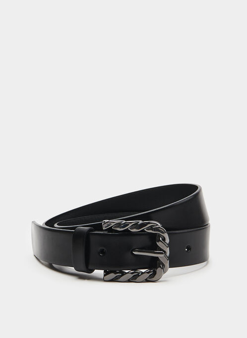 Twisted Metal Buckle Belt, Black, hi-res