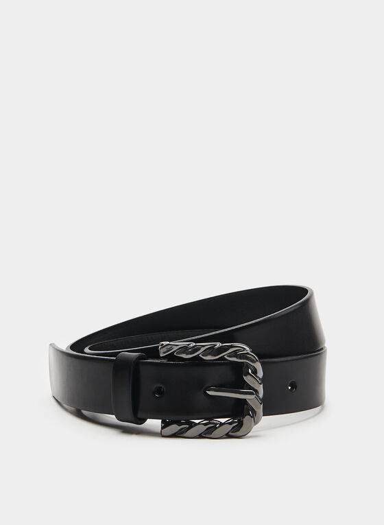 Twisted Metal Buckle Belt, Black, hi-res