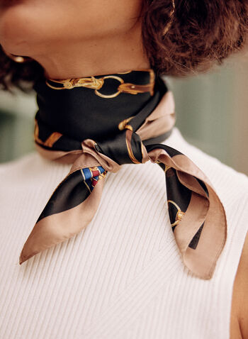 Chain Print Scarf, Black,  Fall winter 2021, accessory, accessories, scarves, printed, square, contrast trim, silk-like,