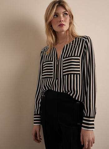 Stripe Print Crepe Blouse, Black,  blouse, crepe, striped, long sleeves, zipper, spring 2020