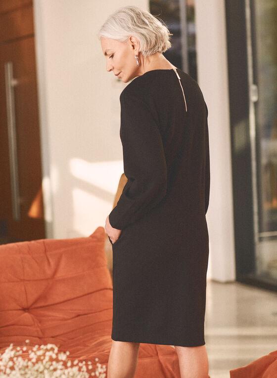 Robe à manches longues et détails satinés, Noir
