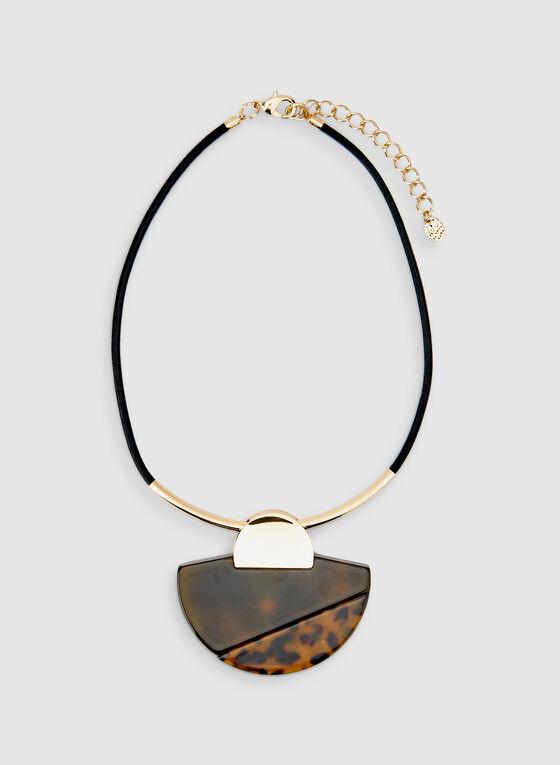 Collier à pendentif animalier en lucite, Noir, hi-res