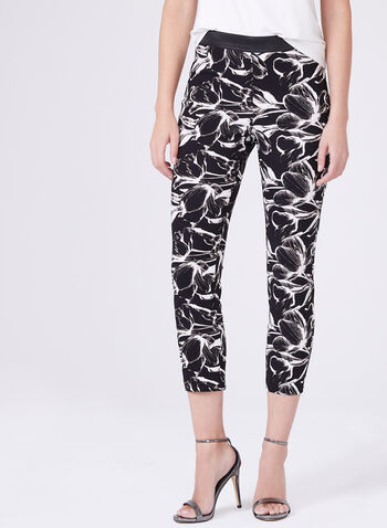 Bengaline Floral Print Pull-On Capri Pants, Black, hi-res