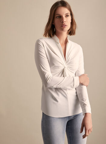 Joseph Ribkoff - Twist Detail Blouse, White,  top, blouse, high collar, v-neck, twist, pleated, stretchy, crepe, cuff buttons, side zipper. spring summer 2020