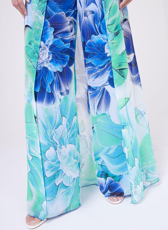 Frank Lyman - Pantalon portefeuille fleuri en mousseline , Bleu, hi-res