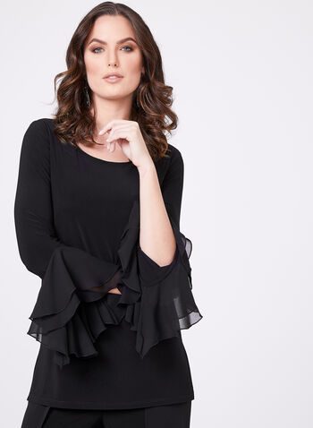 Ruffled Chiffon Jersey Top, Black, hi-res