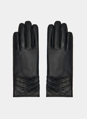 Sheepskin Leather Gloves, Black, hi-res