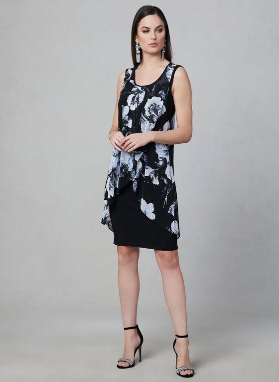 Frank Lyman - Mesh Wrap Dress, Black, hi-res