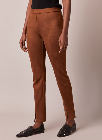 Faux Suede Pull-On Pants, Brown,  pants, faux suede, slit, slim leg, pull-on, fall winter 2020