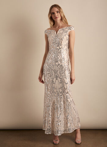 Frank Lyman - Mesh & Sequin Gown, Pink,  dress, evening, mesh, sequins, gown, sheath, spring summer 2020