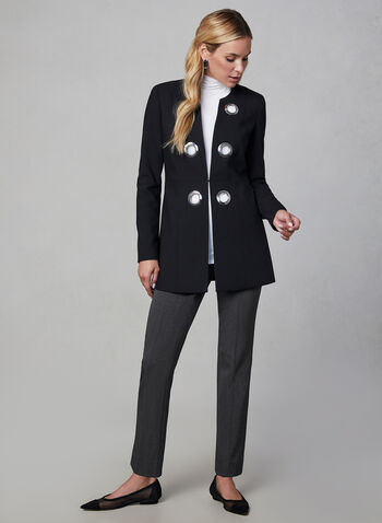 Eyelet Detail Redingote Jacket, Black,  long jacket, long sleeves, metallic details,