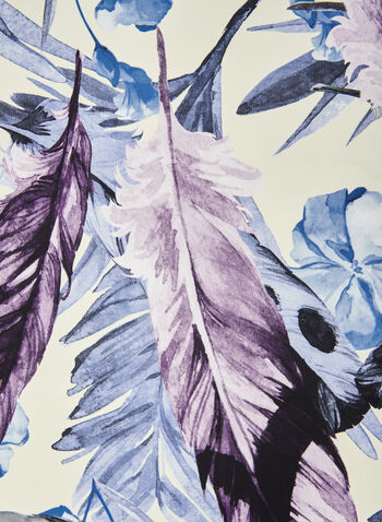 Foulard léger à motif plumes , Bleu,  foulard, long, plumes, effet soie, accessoires, printemps été 2021