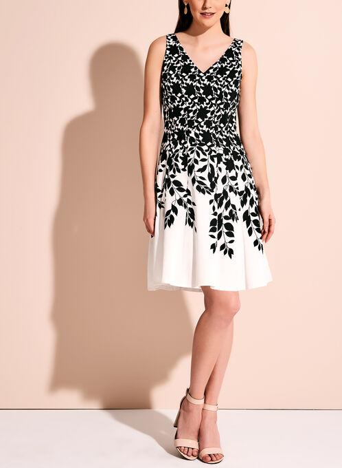 Maggy London Contrast Fit & Flare Dress, Black, hi-res