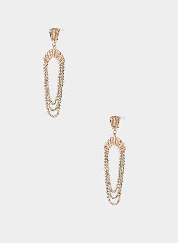 Crystal Dangle Earrings, Gold,  earrings, chandelier, dangle, baguette top, crystal, triple loop, fall 2019