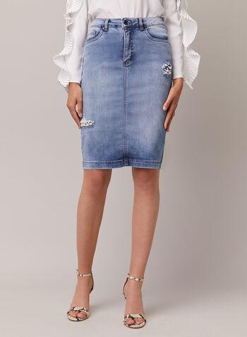 Joseph Ribkoff - Pearl Detail Denim Skirt, Blue,  skirt, denim, pearls, spring summer 2020
