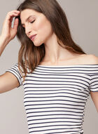 Stripe Print Bardot Neckline Top, White