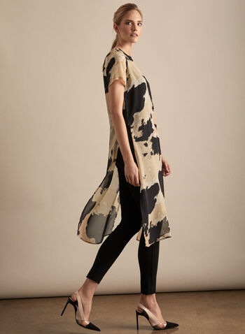Vince Camuto - Abstract Print Tunic, Grey,  tunic, short sleeves, abstract, print, chiffon, long, spring summer 2020