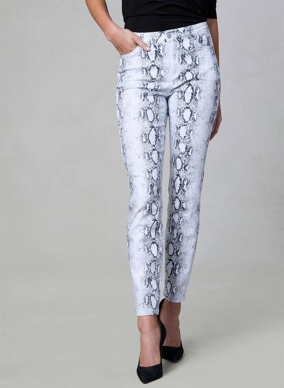 Jean à jambe étroite motif peau de serpent, Blanc