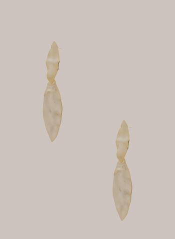 Boucles d'oreilles martelées à deux niveaux, Or,  automne hiver 2020, boucles d'oreilles, bijou, accessoire, doré, martelé, ovale