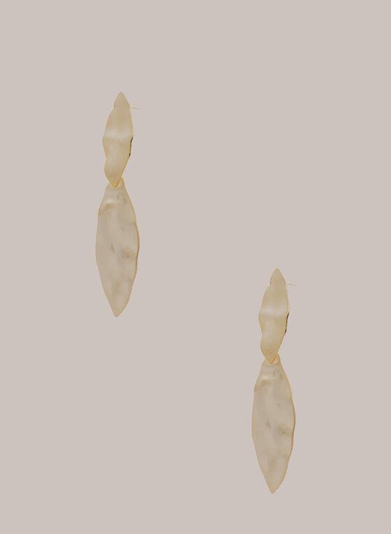 Boucles d'oreilles martelées à deux niveaux, Or